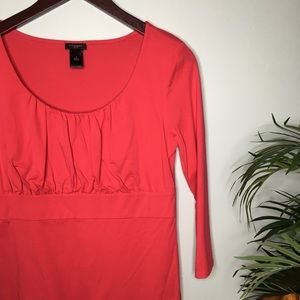 Ann Taylor Coral Pink 3/4 Sleeve Top Size Medium
